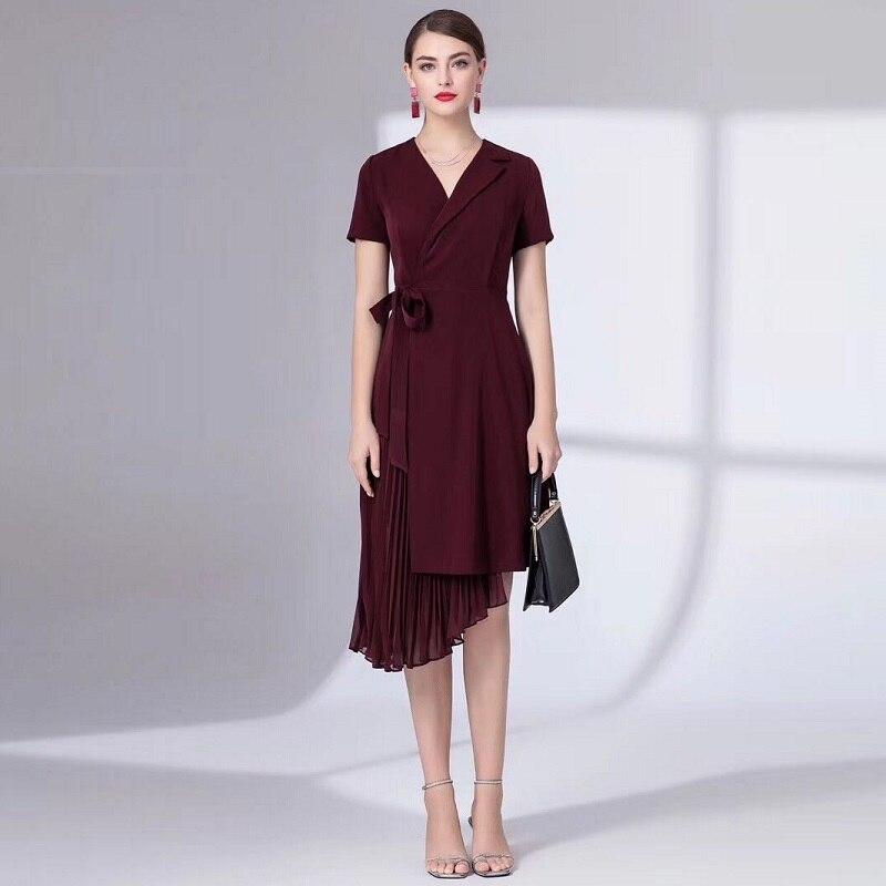Top qualité nouveau 2019 été mode travail robe d'affaires femme col en v plissé Patchwork manches courtes asymétrique robe vin rouge