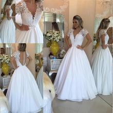 SexeMara Elegant Brides White Wedding Dresses A-Line V-Neck