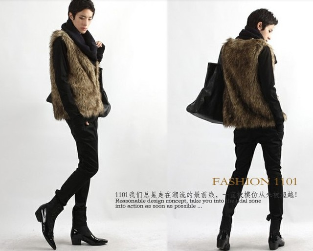 Men's Fashion V-neck Faux Fur All-match Short  Waistcoat for Autumn/Winter Free Shipping