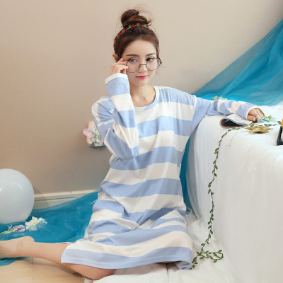 2018 Spring New Comfortable Striped   Nightgowns   Fashion Casual   Sleepshirts   Dress