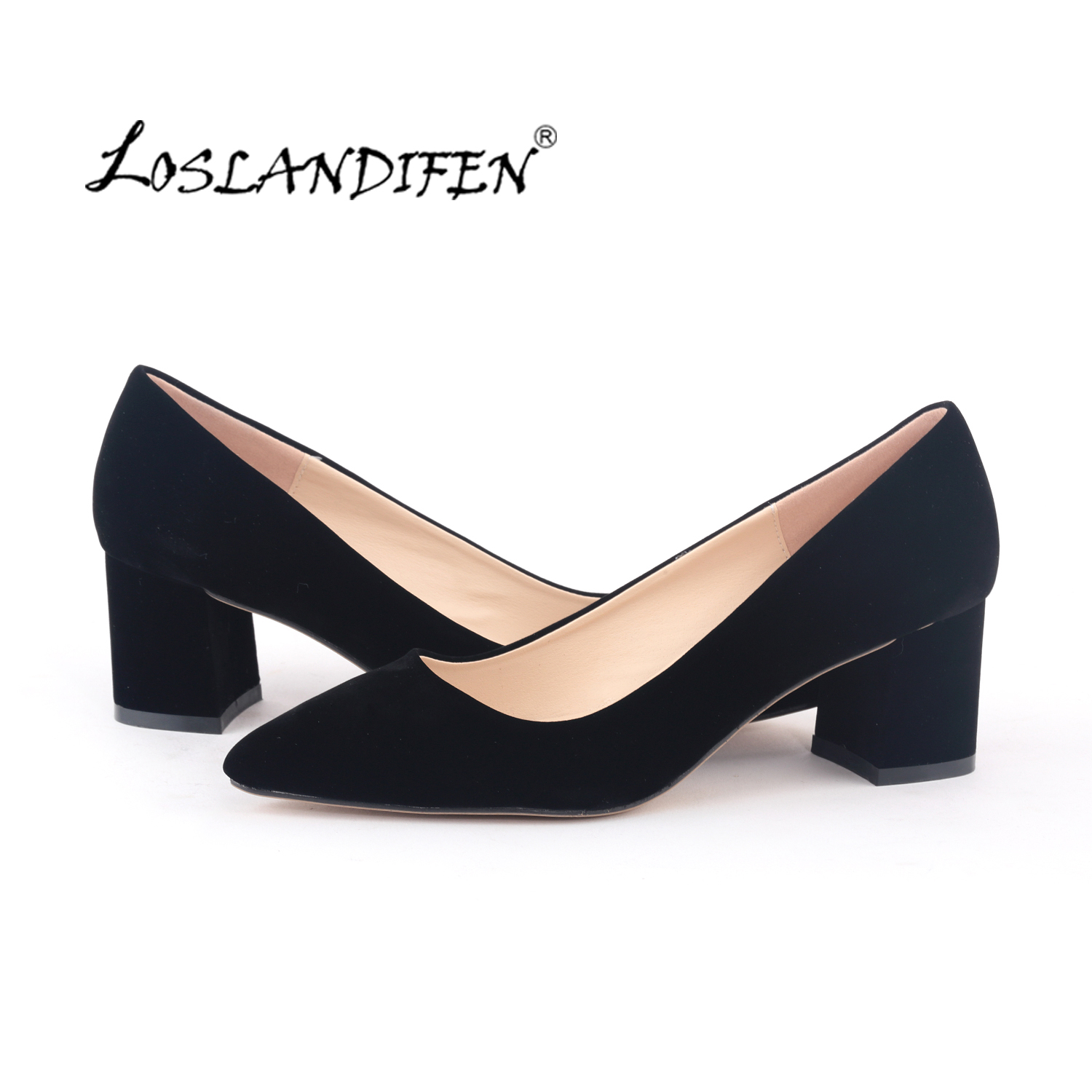 185fa5be3b LOSLANDIFEN Black Velvet Thick High Heels Shoes Fashion Wedges Autume  Office Pumps Pointed Toe Boat Shoes for Woman 0698-1VE