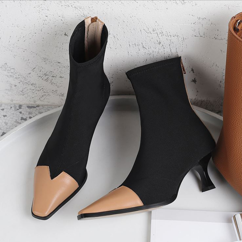 Women High Heels Ankle Boots Stretch Genuine Leather Women Fashion Shoes Black Wine Red Block Heel Sock Boots Zip Ladies Shoes