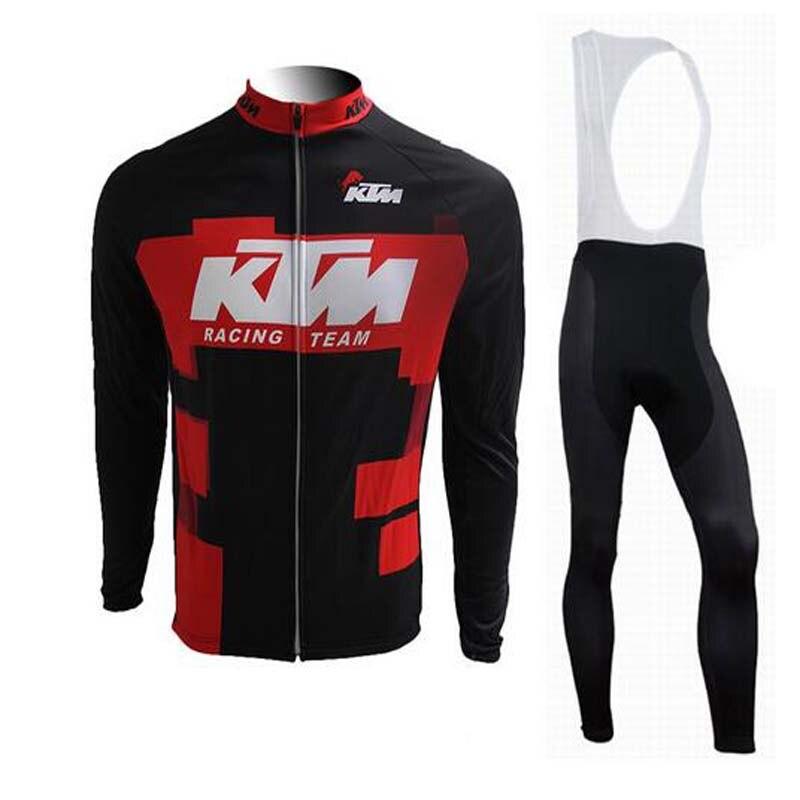 CUSROO 2016 New Men Cycling Jersey <font><b>Set</b></font> specialized bicycle shorts long cycling jersey bike racing clothing KTM Jersey cycling