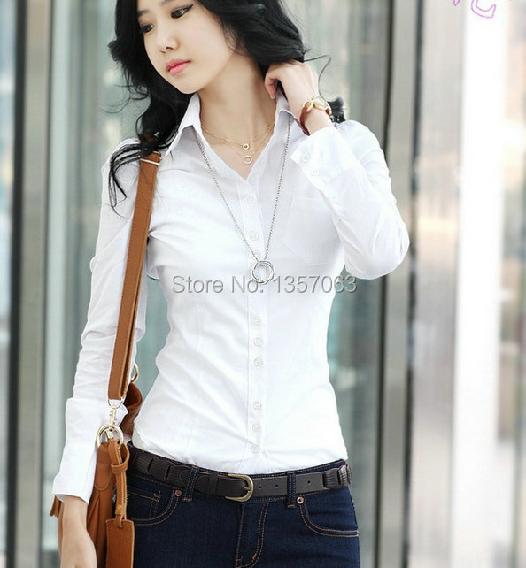 Hot New Ladies Women Shirt Long Sleeve Solid Color White Lady ...