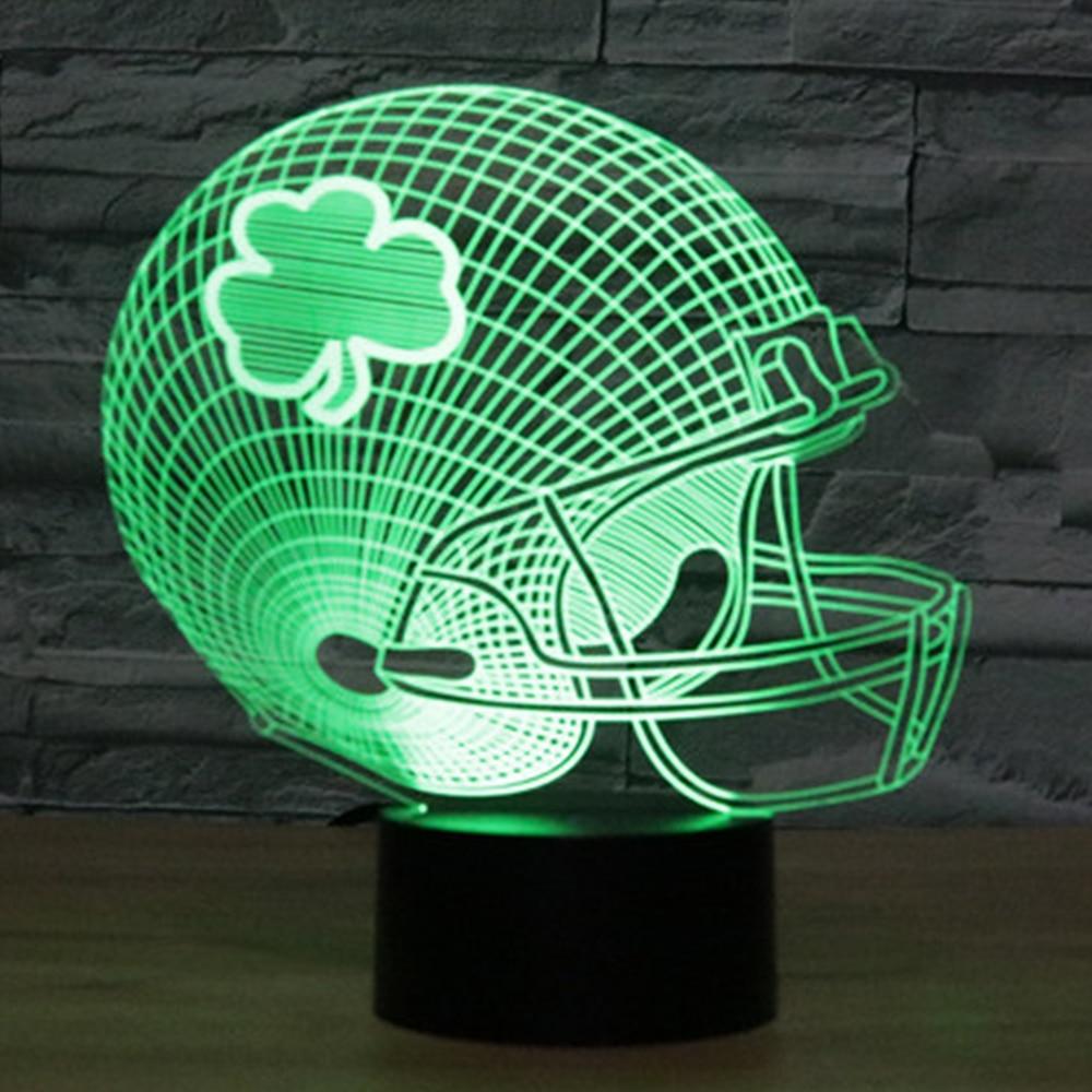 3D LED Rugby Helmet Table Desk Lamp 7 Colors Changing American Football Cap Night Light USB Bedroom Decor Gifts Sleep Lighting