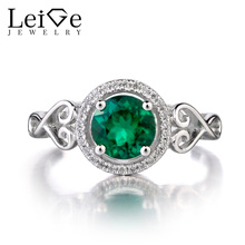 Leige Jewelry Lab Emerald 925 Sterling Silver Ring Round Cut Gemstone May Birthstone Promise Engagement Rings for Women