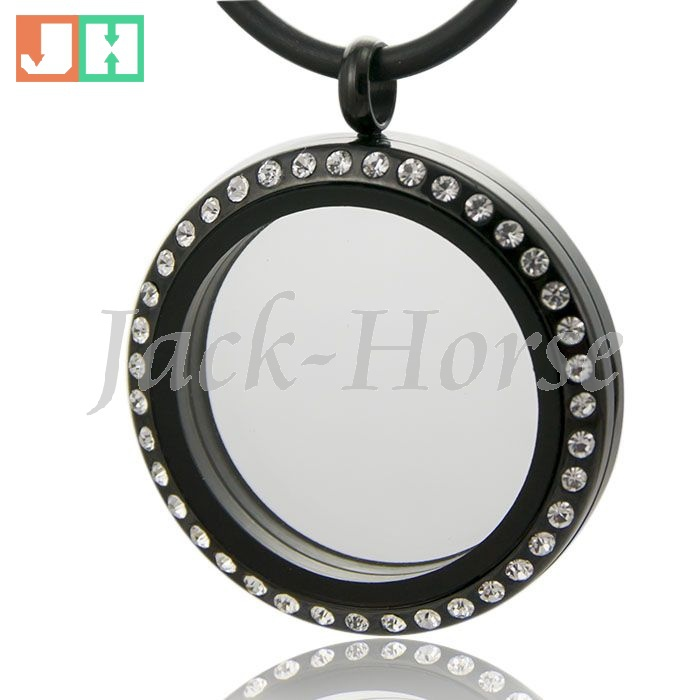 High quality 30mm black plated Crystal 316L magnetic 2015 stainless steel black floating locket