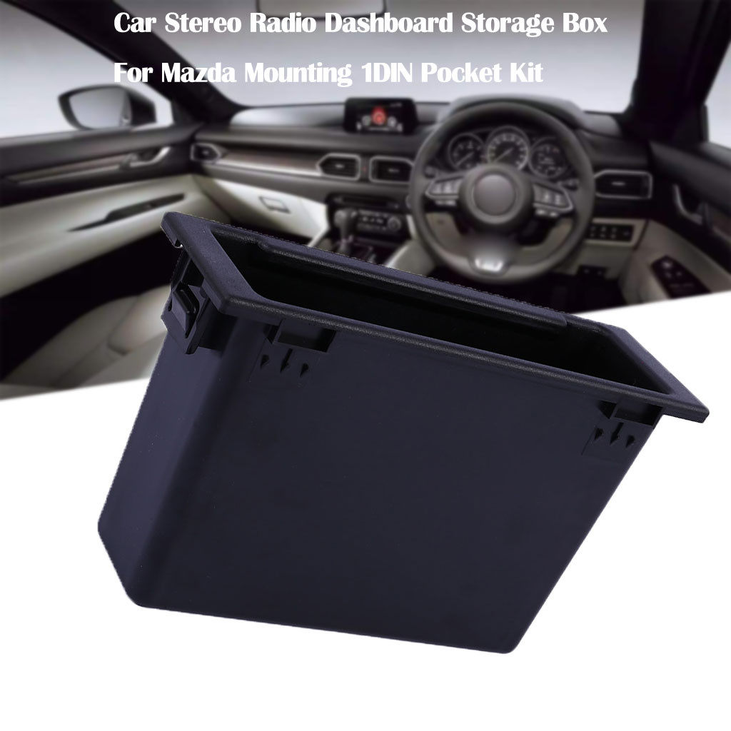 Caixa de armazenamento de rádio estéreo do carro painel para mazda montagem 1din bolso kit caixa armazenamento acessórios do carro interior