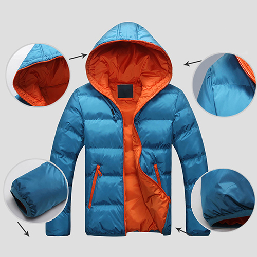 Men Winter Warm Down Jacket Casual Long Sleeve Padded Hooded Zipper Coat