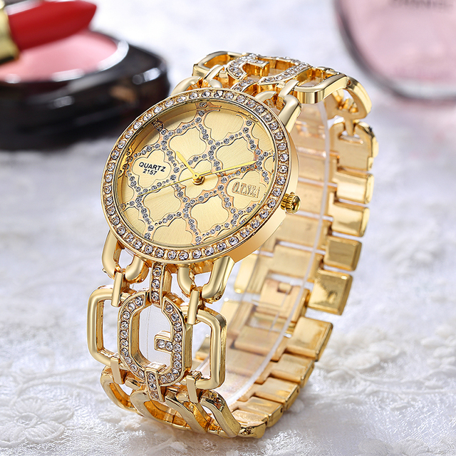 Luxury O.T.SEA Brand Rose Gold Plated Bracelet Watches Women Ladies Crystal Dres