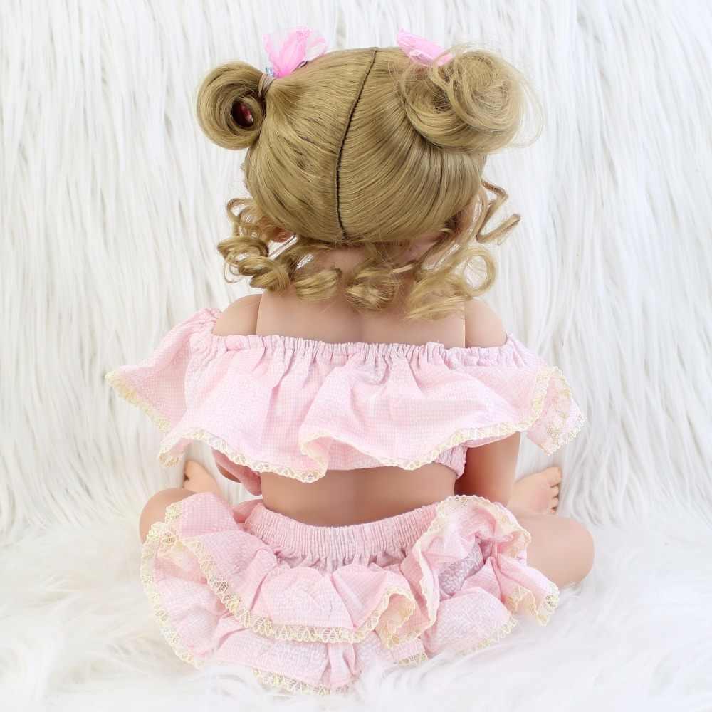 55cm de Corpo Inteiro de Silicone Bebê Reborn Boneca Brinquedos Para Meninas Bonecas Loira Princesa Recém-nascidos Bebês Bebe Vivo Presente Presente brinquedo banho