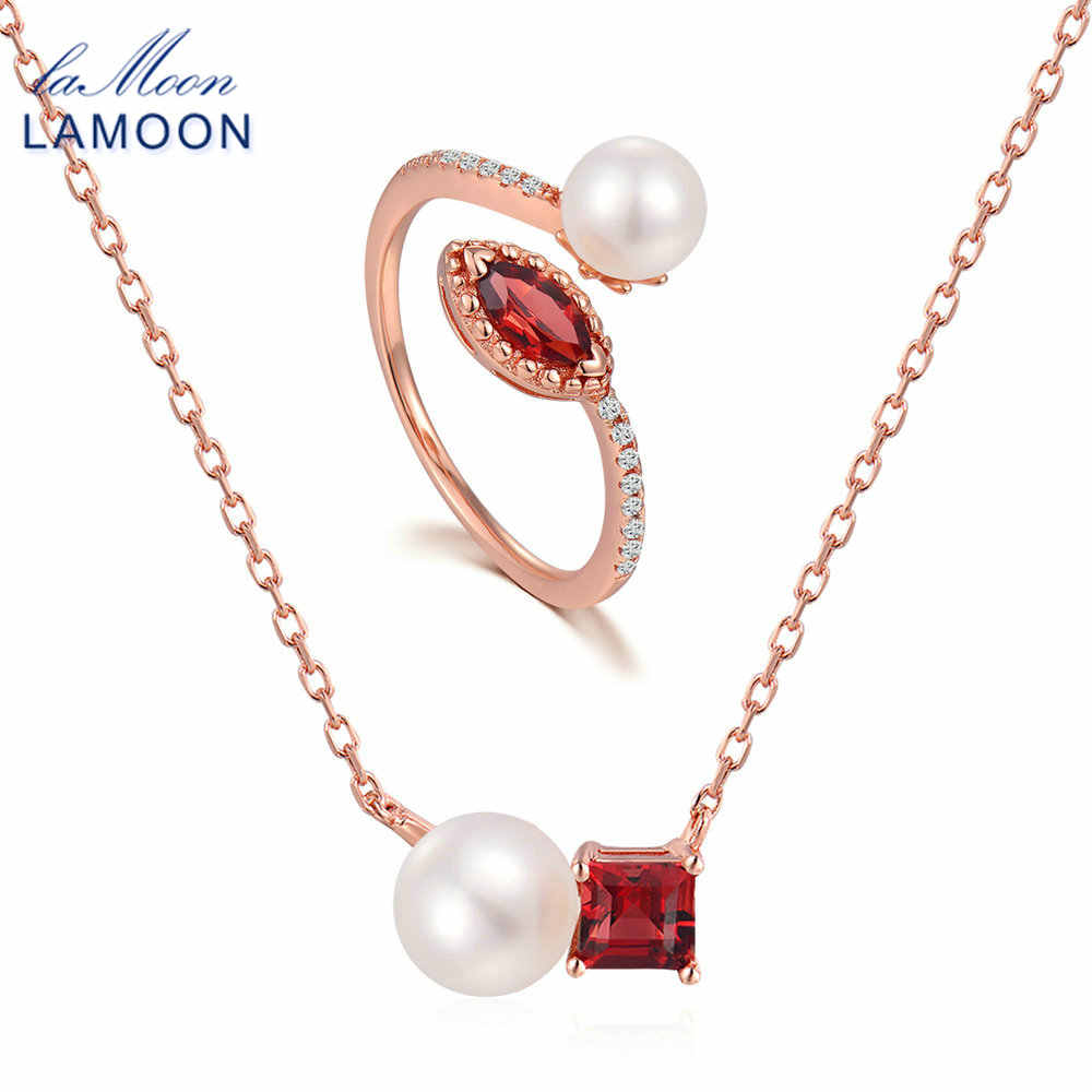 LAMOON 2018 Classic 925-Sterling-Silver Freshwater Pearl+Natural Garnet Gemstone Jewelry Sets S925 Fine Jewelry For Women V050-2