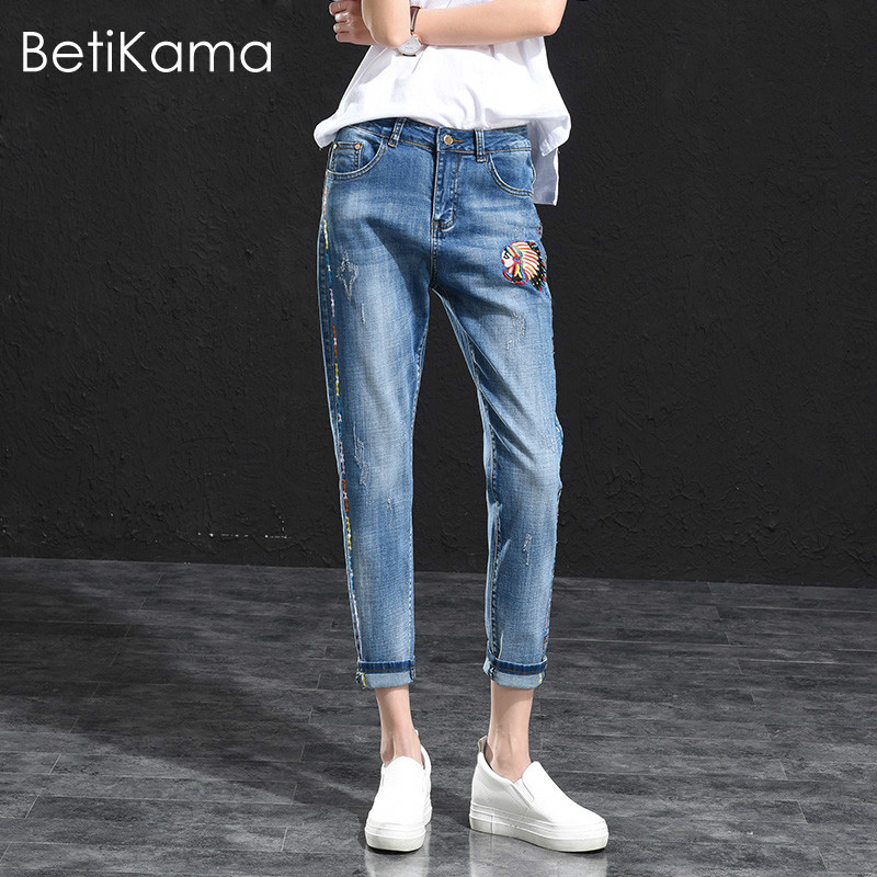 Embroidered Harem Jeans Pants Women Pencil Trousers Ankle Length pantalon femme Plus Size Loose Denim Boyfriend Jeans feminino rosicil new women jeans low waist stretch ankle length slim pencil pants fashion female jeans plus size jeans femme 2017 tsl049 page 6
