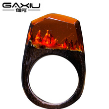 Fashion Punk Rings For Men Women Wooden Resin Rings Handmade Jewelry Gifts 2017 Magical Worlds Rings Transparent Resin Wood Ring