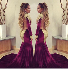 Sexy Burgund Samt Prom Dresses Charming Dubai Kaftan Gold Appliques High Neck Mantel Lang Backless Abendkleid