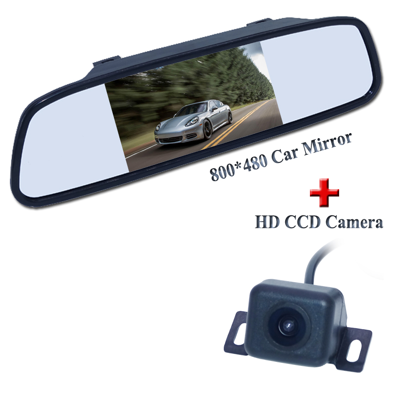 """Hot Selling Universal 4.3\"""" TFT LCD Car Rearview Mirror <font><b>Monitor</b></font> with CCD Rear View Camera Car Video Parking Assistance System"""