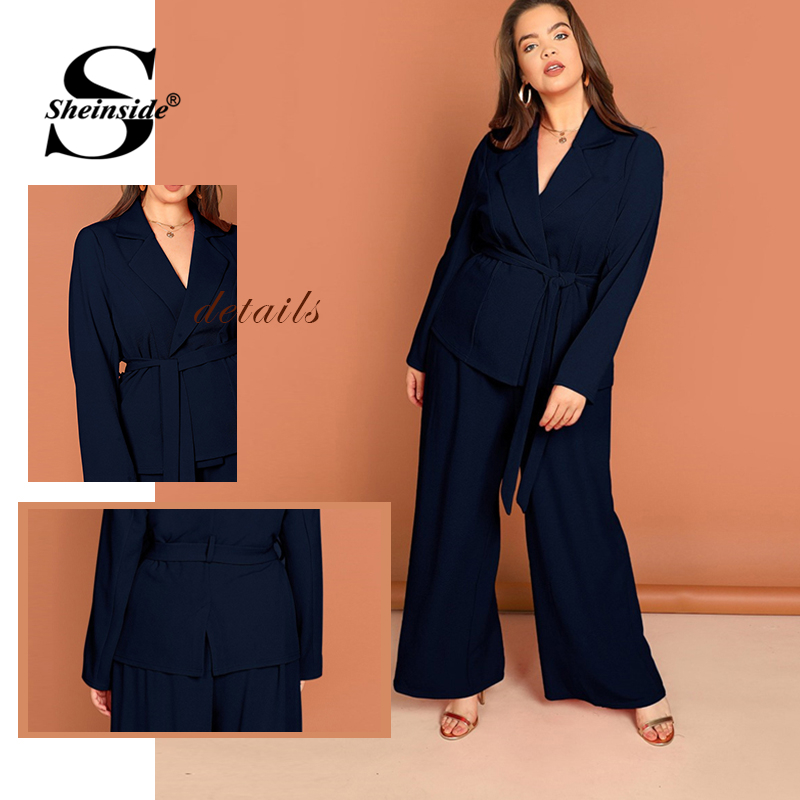 Sheinside Plus Size Notched Collar Blazer And Pants Set Office Ladies Elegant Turquoise Double Breasted Blazer 2 Piece Set