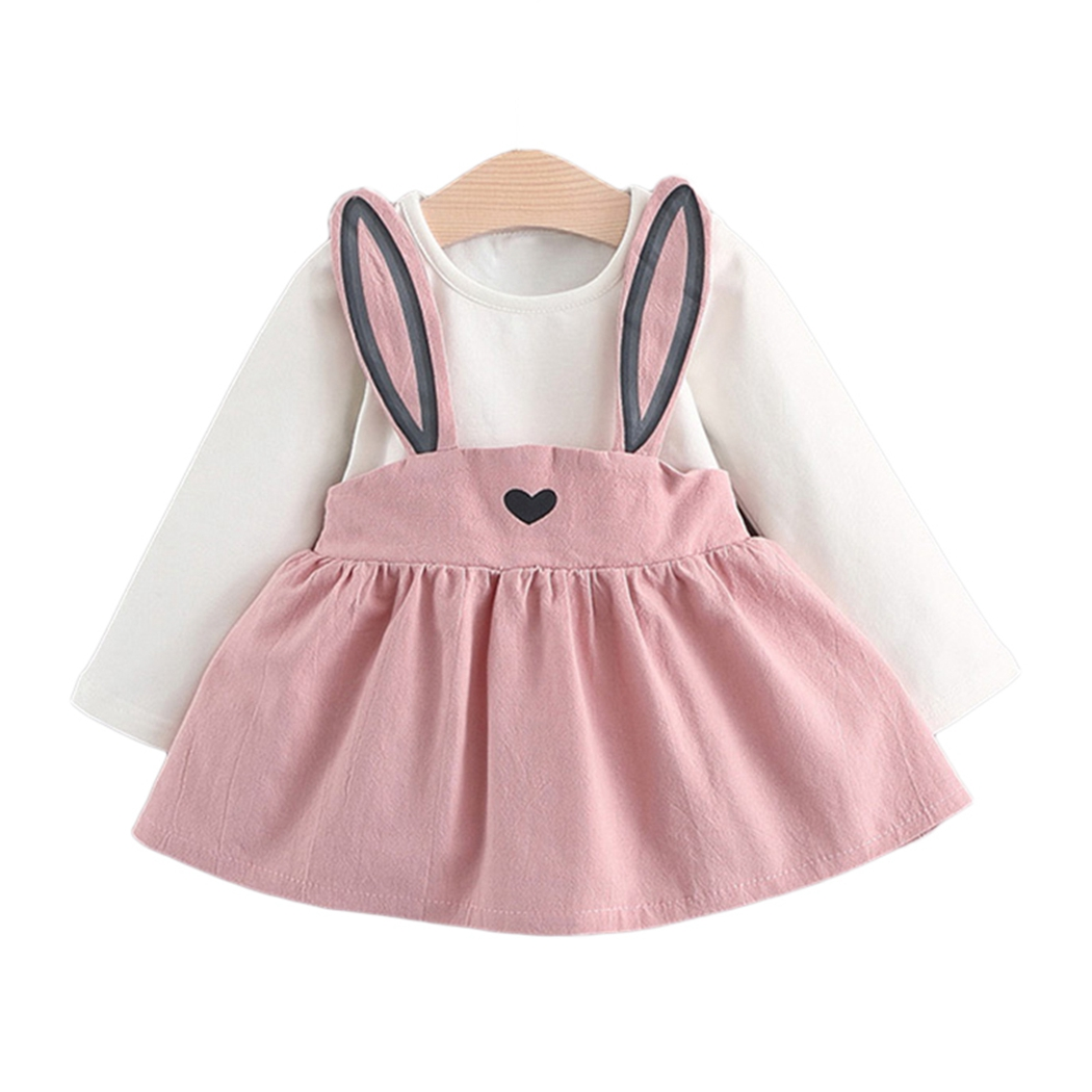 2018 Cute Infant Kids Baby Girls Clothing Rabbit Bunny Ears Long Sleeve Patchwork Cotton Dresses Autumn 2pc Spring 0-3 Y