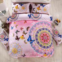 Boho bohemian phong cách bướm bedding sets cô gái màu đỏ tươi màu xanh tím trải giường trăng tình yêu guitar chăn che đặt hoàng hậu kích thước
