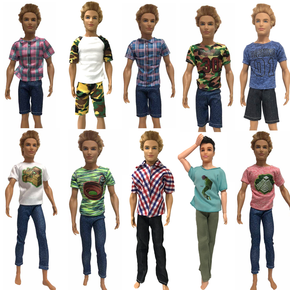 NK One Pcs Doll Clothes Men's Outfit Daily Casual Wear T-Shirt Blouse Pants Trousers  For KEN Doll Accessories Baby Toys JJ