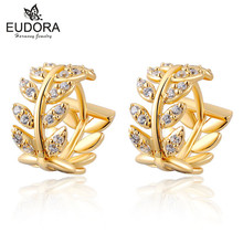 Elegant Leaf Crystal Small Hoop Earrings Gold Filled Jewelry For Wome Party Gift CZ Zircon Hoop Earring Fashion Wedding Jewelry fashion korean style small round hoop earrings white flowers earring elegant shining zircon earring women party jewelry gift