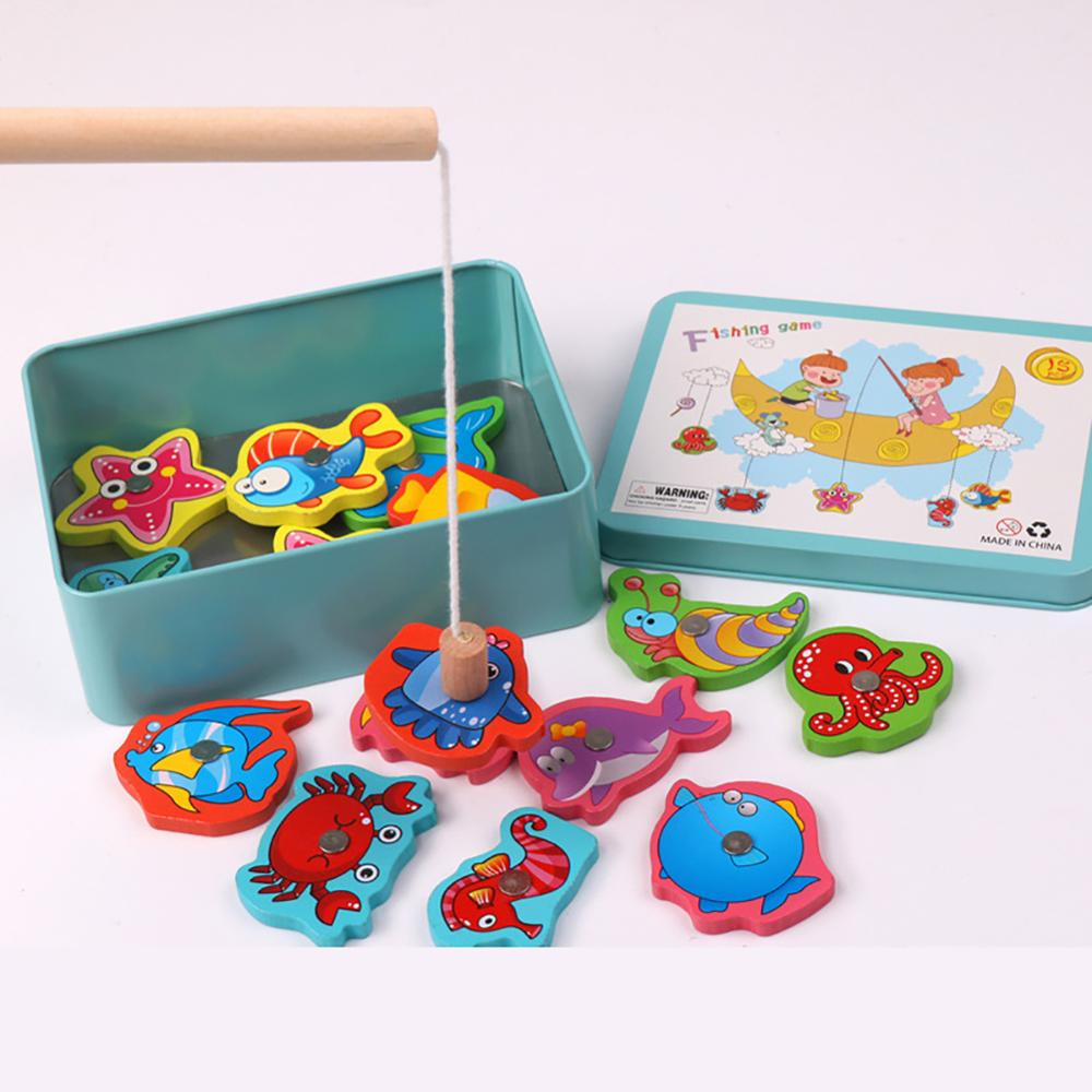 NEW Free Drop Shipping  Magnetic Wooden Baby Fishing Toy Kids Simulation Ocean Intellectual Fish Game Gift For Kids Children