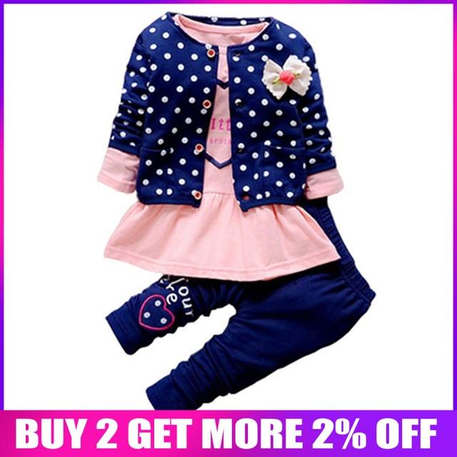 15fce4758 BibiCola أطفال الربيع الطفل الفتيات مجموعة ملابس موجة نقطة الملابس مجموعة  طفل الفتيات ملابس قطنية دعوى