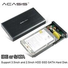 Acasis interfaz de 3.5 pulgadas usb 2.0 sata e ide hdd ssd caja de disco duro Móvil Caja de aleación de aluminio-magnesio soporta hasta 10 TB
