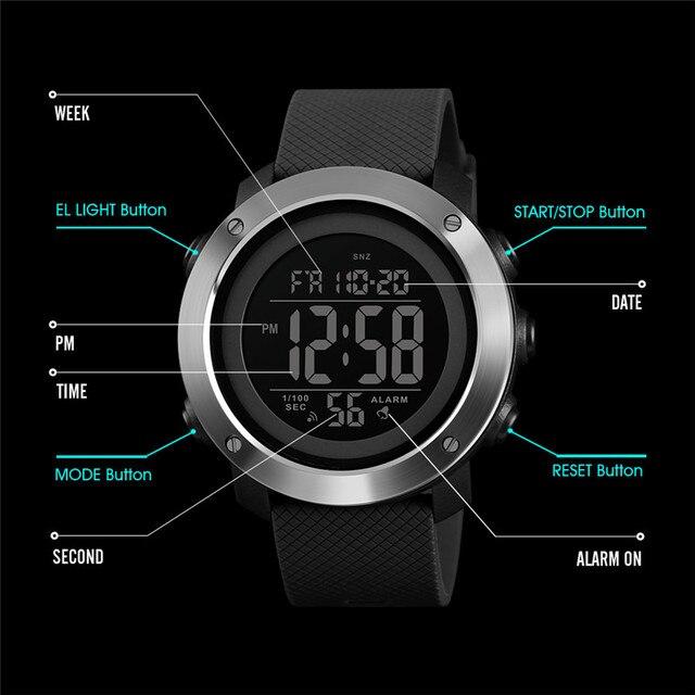 Часы тайм сектер мужские, водонепроницаемые, спортивные, студенческие цифровые наручные часы, Молодежные светящиеся многофункциональные тактические часы