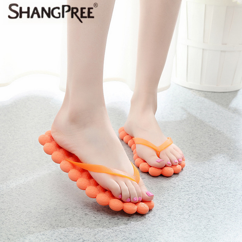 SHANGPREE New Women slippers fashion Summer refreshing massage slippers Beach flip-flops Ladies Flats Shoes Woman Free shipping free shipping candy color women garden shoes breathable women beach shoes hsa21