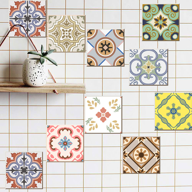 Colorful Retro Patterned Wall Tiles Set