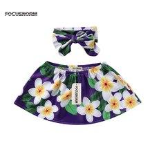 Новая Милая модная футболка для маленьких девочек Летняя хлопковая одежда с цветочным принтом комплекты с повязкой на голову футболка с открытыми плечами для детей от 0 до 24 месяцев