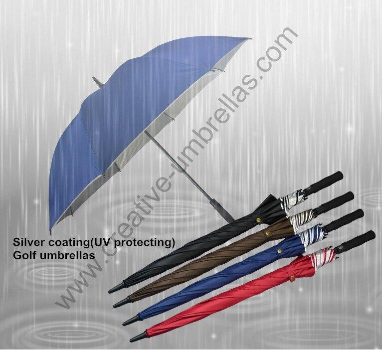 3 pcs/lot libre diamètre 120 cm anti-tonnerre anti-rouille en fibre de verre auto ouvert ceintures d'épaule bleu pongé argent revêtement golf parapluie