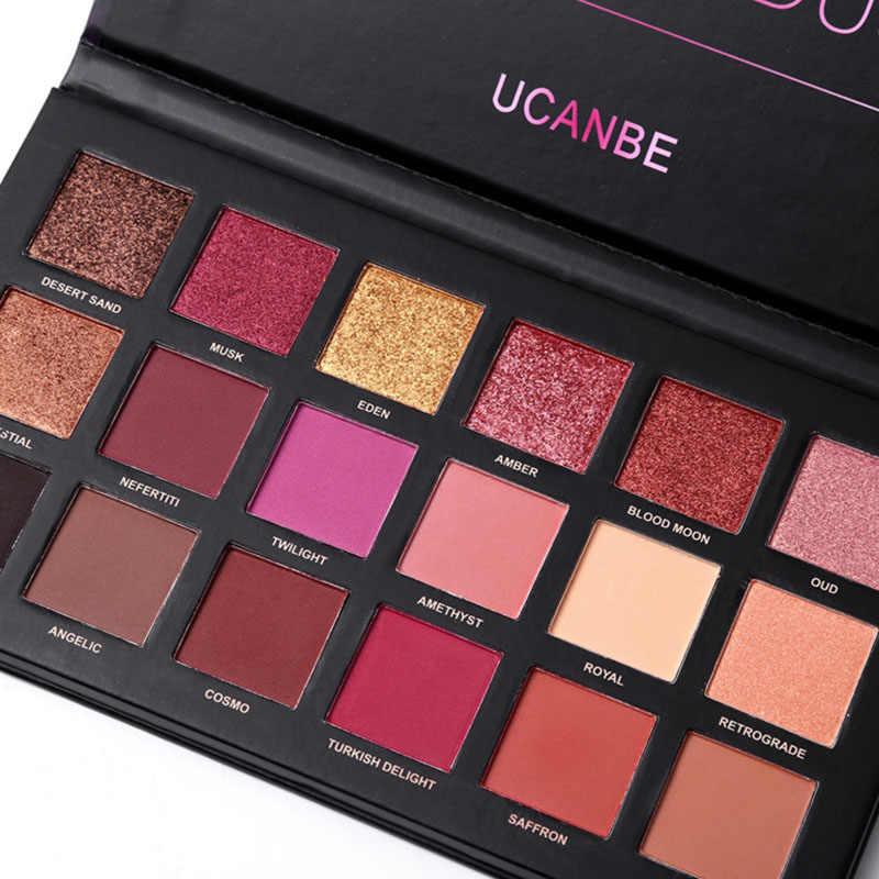 Горячая UCANBE 18 цветов Shimmer матовый хром пигментированные прессованные глаза макияж натуральный стойкий тени для век косметическая палитра