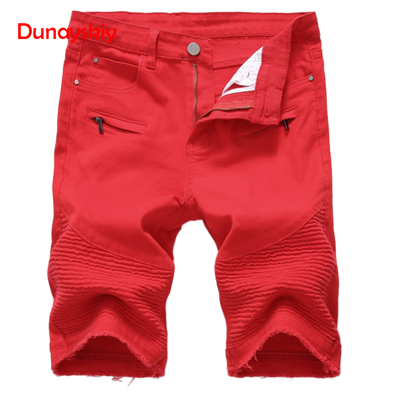 Casual   Shorts   Men New Summer   Short   Trousers Fashion Straight Slim Denim   Shorts   Male Black Ripped Knee Length Red White Black