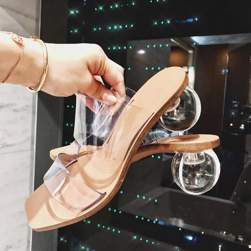 Geometric Heel Transparent PVC Square Toe High Heel Ball Heel 7CM Women Sandals