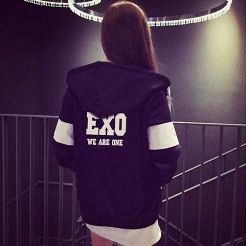 Women Black Printed Sweatshirts New Autumn Winter Women Casual Fleece Inside Zipper EXO Kawaii Fans Thickening Hooded Hoodies
