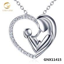 De Calidad superior de La Madre y Del Niño Del Corazón Colgante de 925 Collar de Plata de ley Para Las Mujeres Al Por Mayor GNX11415
