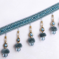 12M/lot Beaded Fringe Lace Trim For Curtains DIY Lamp Sofa Stage Decorative Pompon Beads Lace Ribbon Curtain Accessories