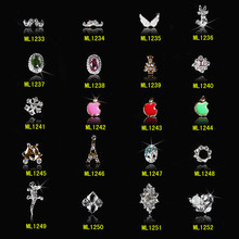 100Pcs Best price New 3d Clear Alloy Rhinestone Flower Cartoon Nail Art Decoration DIY Charm Jewelry Accessories 1233-1252