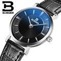 Mulheres relógios de luxo da marca suíça BINGER B9013W-2 ultrafinos relógios de Pulso de quartzo com pulseira de couro À Prova D' Água 1 anos de Garantia