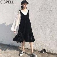 SISPELL Velvet Strap Dresses For Women Female Solid Jean Sleeveless Dress Autumn Black Tide Clothes Korean