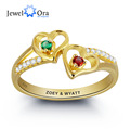 Engrave & Birthstone Personalized Silver Ring DIY Double Heart Name Ring Customize Jewelry Unique Love Gift (JewelOra RI101797)