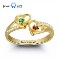 Engrave Birthstone Personalized Silver Ring DIY Double Heart Name Necklace Valentine S Day Gift JewelOra RI101797