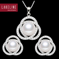 Natural Pearl Jewelry Set For Women Elegant Bride Freshwater Pearl Jewelry Set 925 Sterling Silver Necklace & Earrings