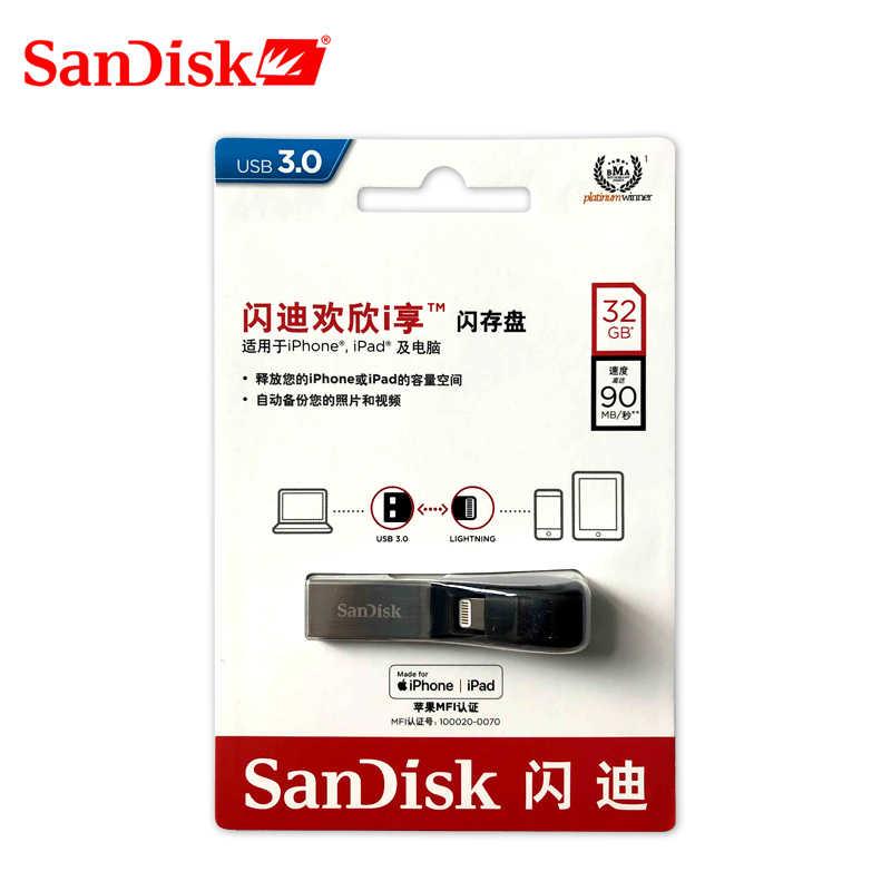 SanDisk Ixpand USB 3.0 OTG Flash Drive 64GB 256GB Lightning untuk Logam Pen Drive 128GB U Disk untuk iPhone iPad IPod Memory Stick