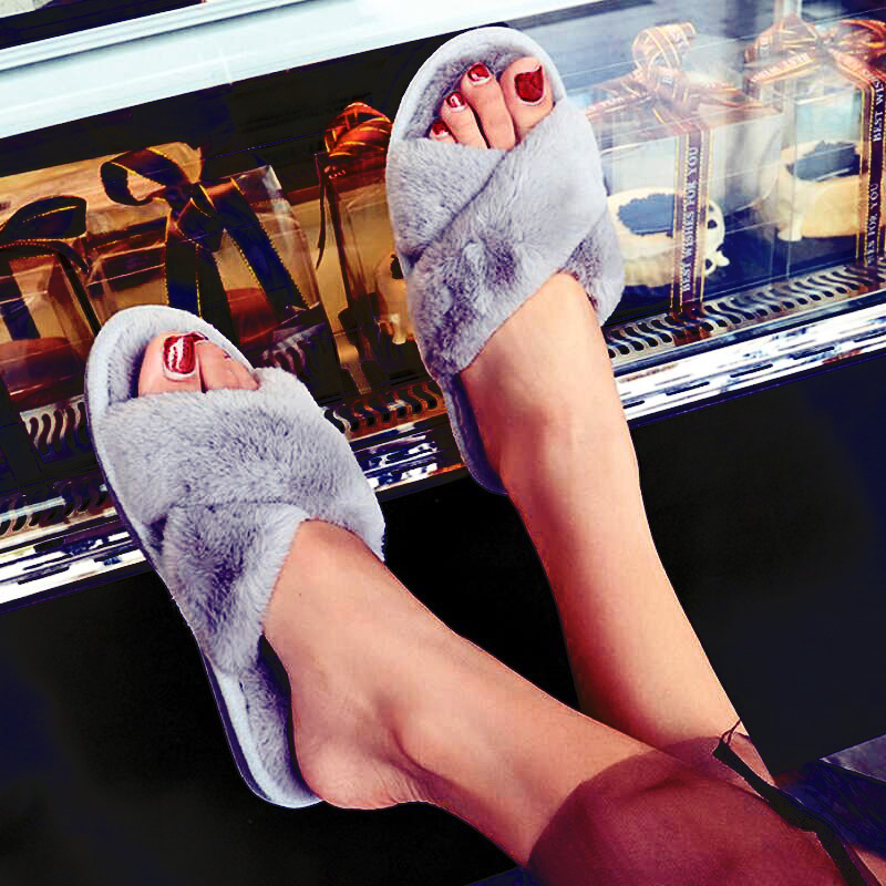 Women Slippers Winter Flat Shoes Funny Home Sandals Female Indoor Shoes Fur Warm Soft Slip On