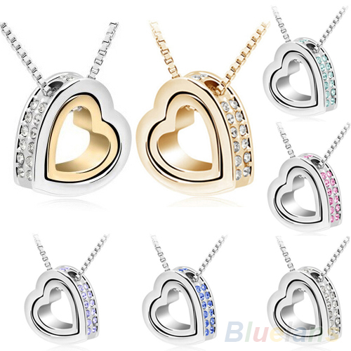 ᗚBluelans Women s Love Heart Crystal Rhinestone Pendant Necklace ... 35ed740db8d6
