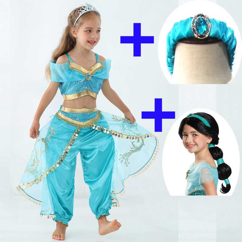 Kinderen Aladdin En De Magische Lamp Prinses Jasmine Cosplay Kostuum Vrouwelijke Dans Jurk Halloween Sky Blue Meisje Mooie Baljurken