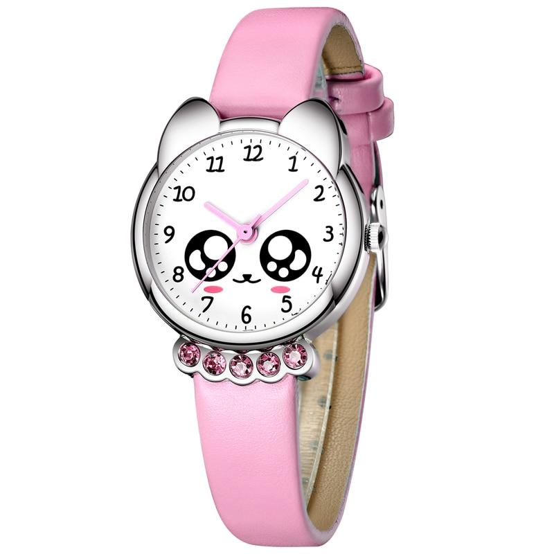 KDM ילדה שעון ילדים בלינג חמוד עיני יהלומים עמיד למים עור אמיתי שעוני יד יפה ילד ילדים שעונים סטודנטים שעון